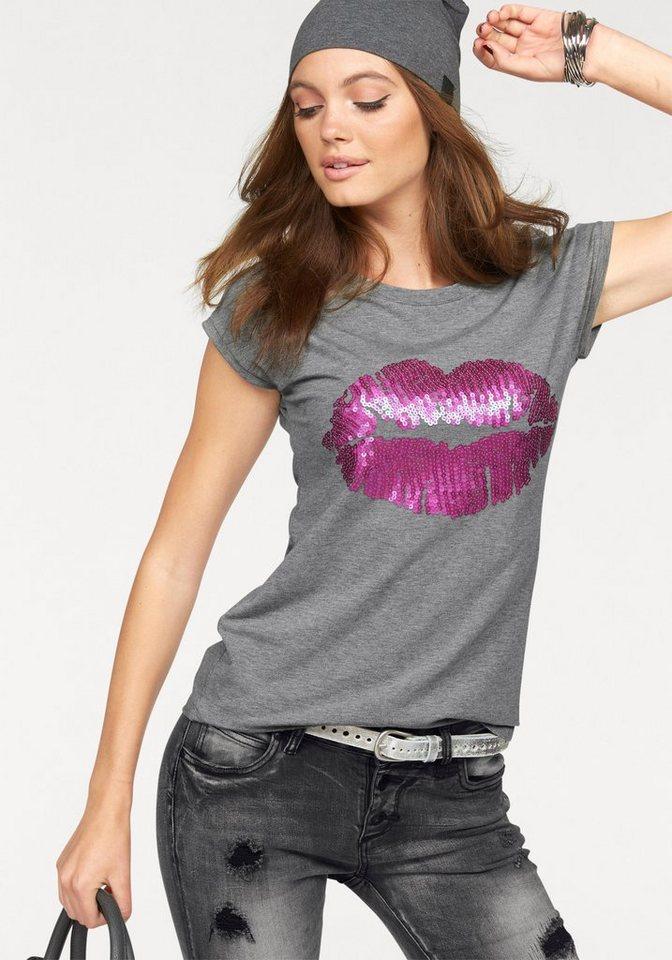 Melrose Rundhalsshirt mit Pailletten-Kussmund in grau-meliert