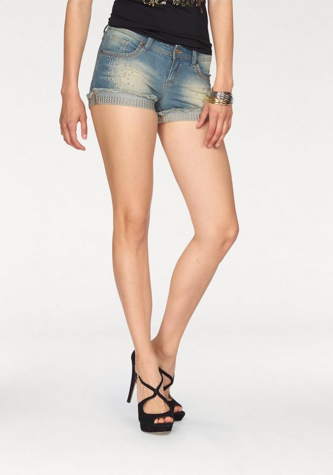 Melrose Jeansshorts mit Nieten in blue-used