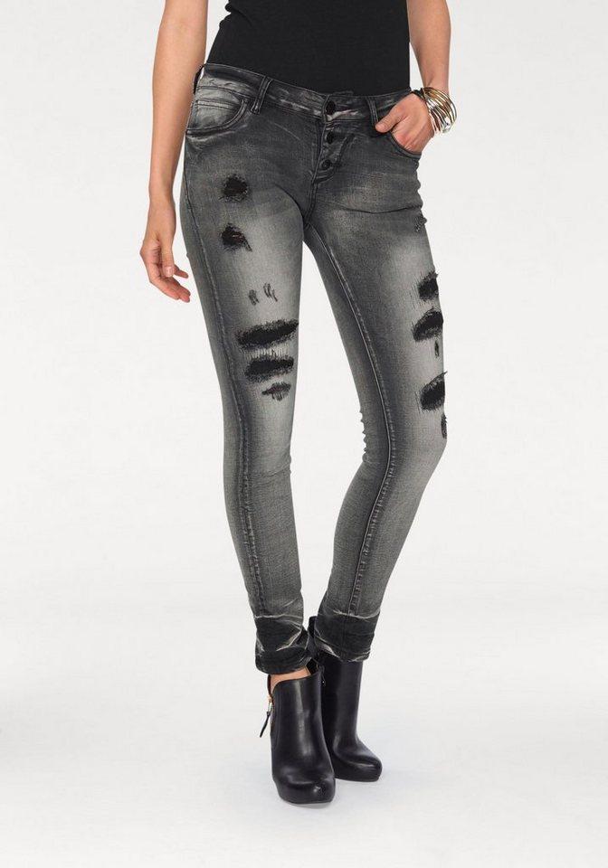 Blue Monkey Destroyed-Jeans »Lena« mit stoffunterlegten Löchern und Abriebeffekten in grey