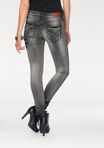 Blue Monkey Destroyed Jeans Lena, Holes With Fabric-backed And Abrasion Effects