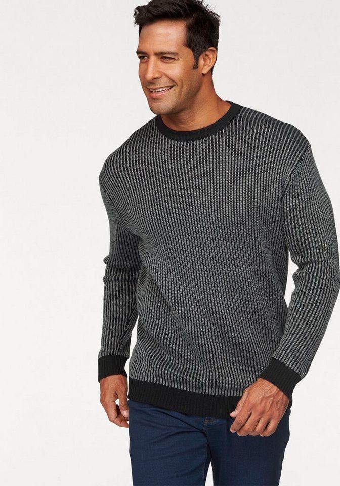 Man's World Strickpullover in schwarz-grau