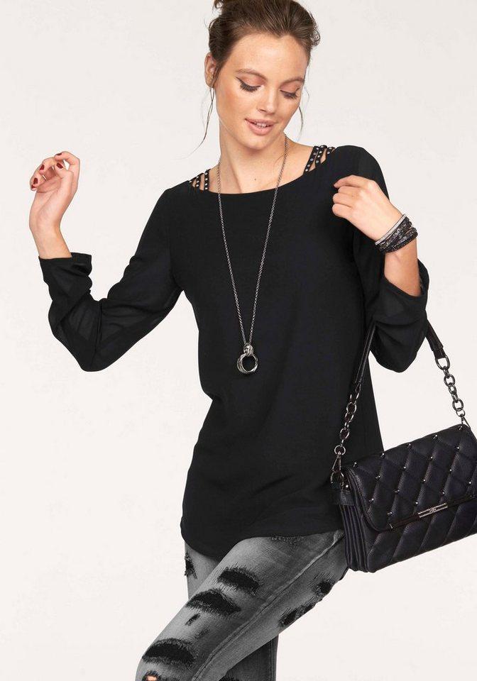 Melrose Chiffonbluse mit Schulter-Details in schwarz