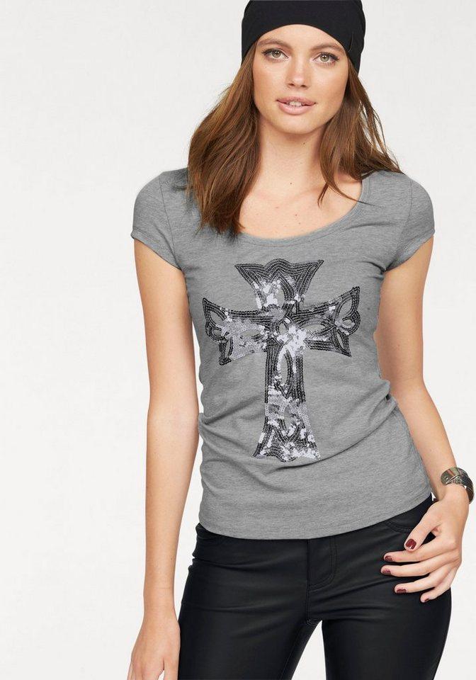 Melrose Rundhalsshirt mit Pailletten-Stickerei in grau-meliert