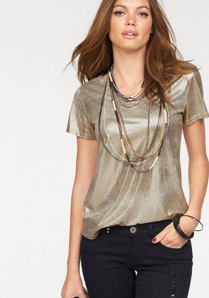 Melrose T-Shirt mit Glanz-Print in goldfarben