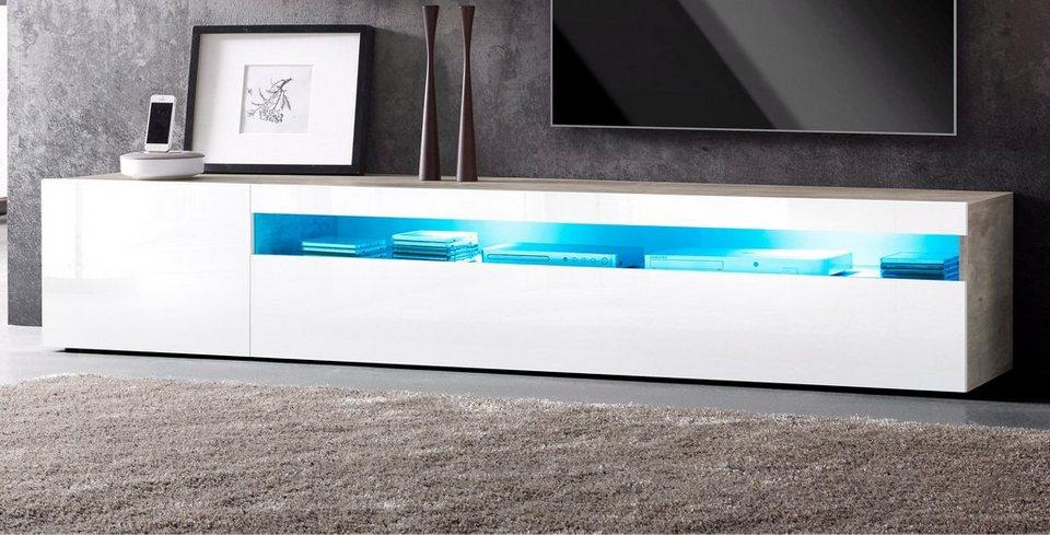 Lowboard, Breite 200 cm in Beton-Optik/weiß Hochglanz