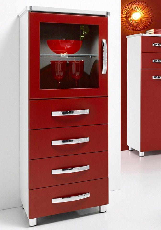 INOSIGN Vitrinenkommode, Breite 45 cm, Made in Germany in rot / alpinweiß