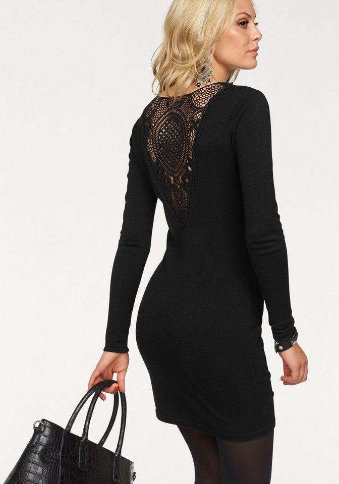 Melrose Strickkleid mit Spitzeneinsatz am Rücken in schwarz