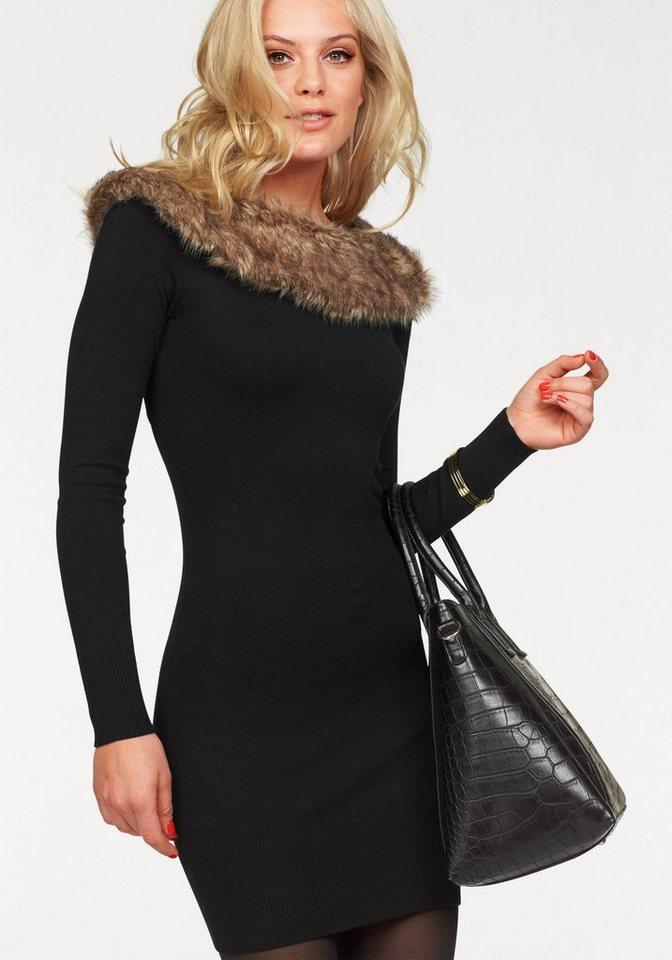 Melrose Strickkleid mit Fellimitat-Kragen in schwarz