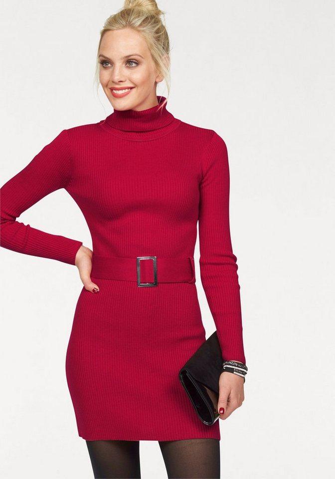 Melrose Strickkleid mit Rollkragen und Gürtel in rot
