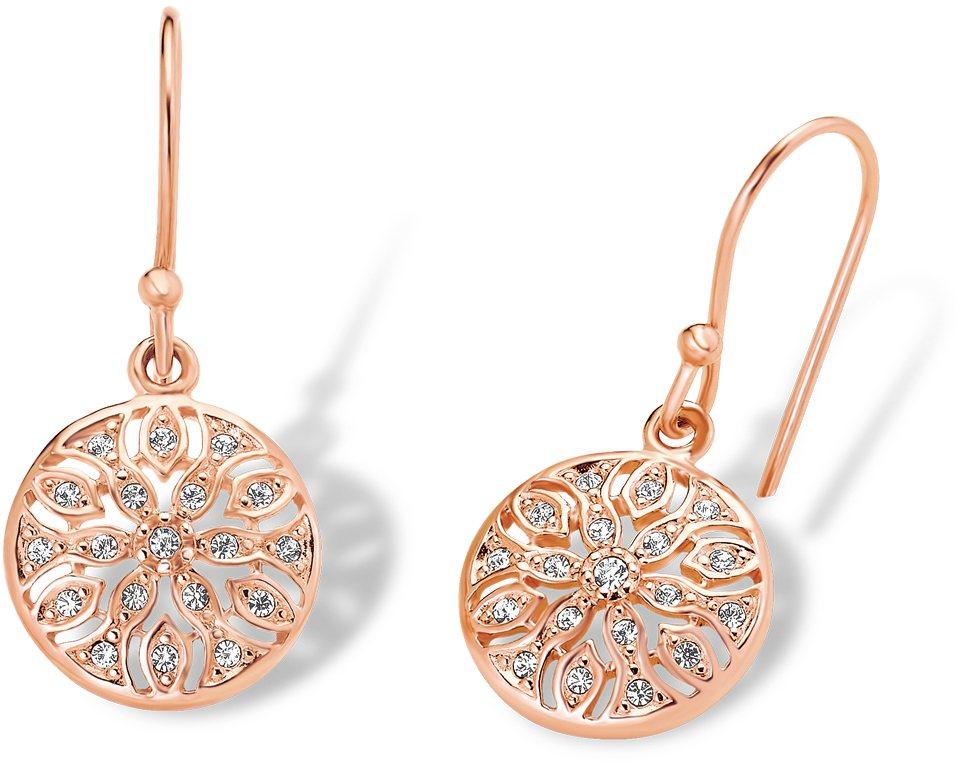 Amor Paar Ohrhaken mit Kristallsteinen, »E108/5 537322« in Silber 925-roségoldfarben vergoldet