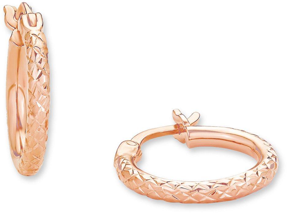 Amor Paar Creolen, »A52/15 537827« in Silber 925-roségoldfarben vergoldet