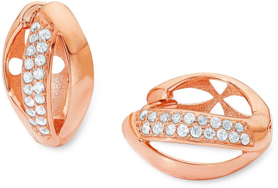 Amor Paar Creolen mit Zirkonia, »E108/7 539258« in Silber 925-roségoldfarben vergoldet