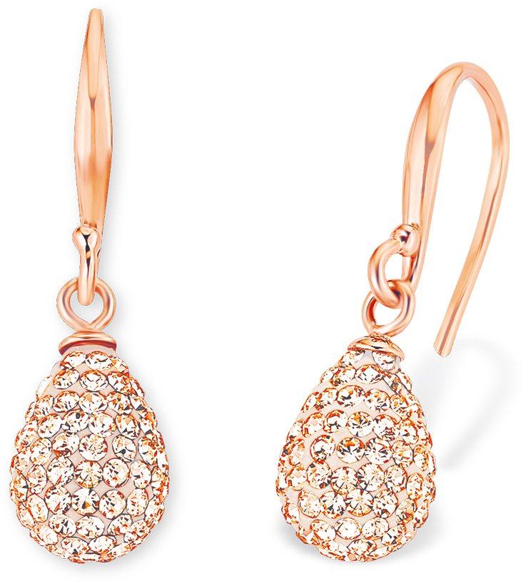 Amor Paar Ohrhaken mit Kristallglassteinen, »Tropfen, E93/9 513265« in Silber 925-roségoldfarben vergoldet