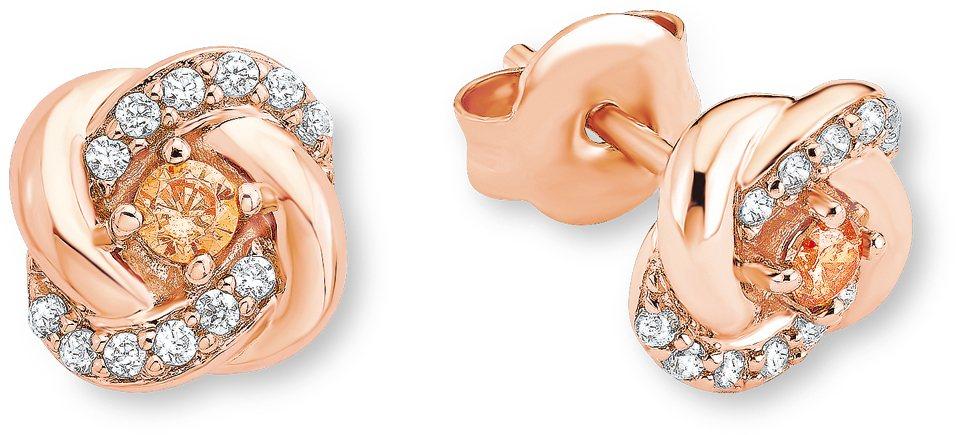 Amor Paar Ohrstecker mit Zirkonia, »Knoten, E108/8 537742« in Silber 925-roségoldfarben vergoldet