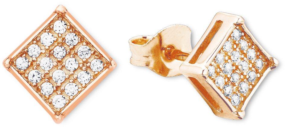 Amor Paar Ohrstecker mit Zirkonia, »E106/9 537643« in Silber 925-roségoldfarben vergoldet