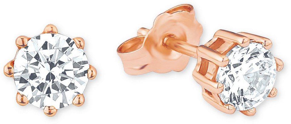 Amor Paar Ohrstecker mit Zirkonia, »E99/4 503419« in Silber 925- 18 Karat roségoldfarben vergoldet