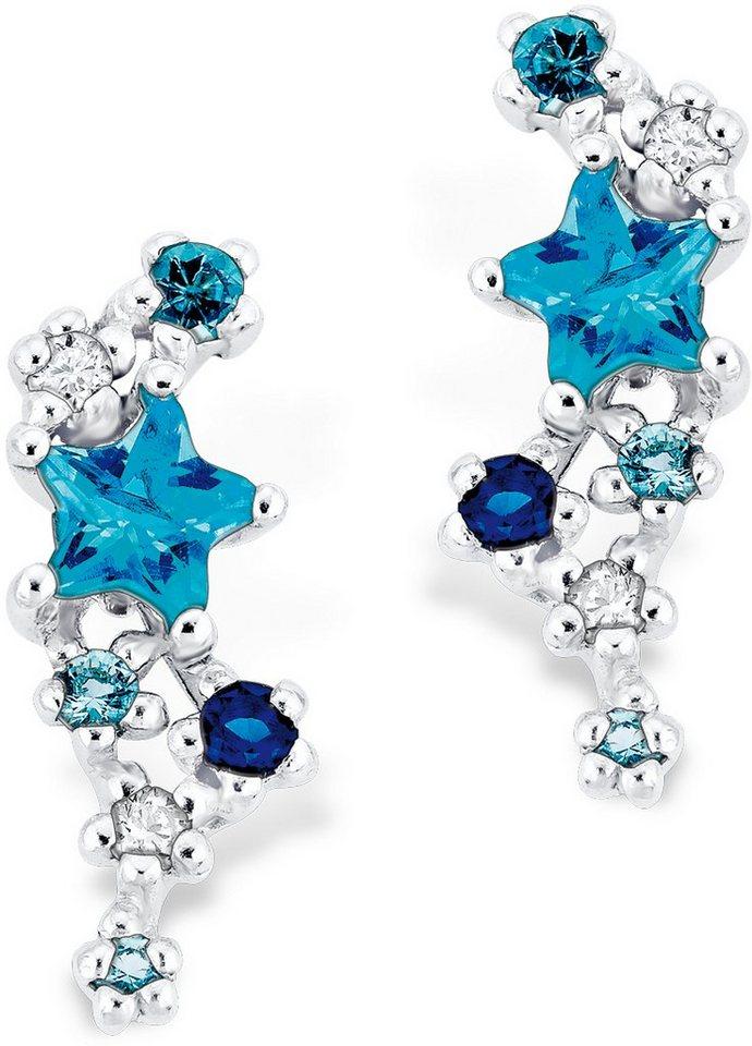 Amor Paar Ohrstecker mit Zirkonia, »Stern, E82/11 538374« in Silber 925-blau