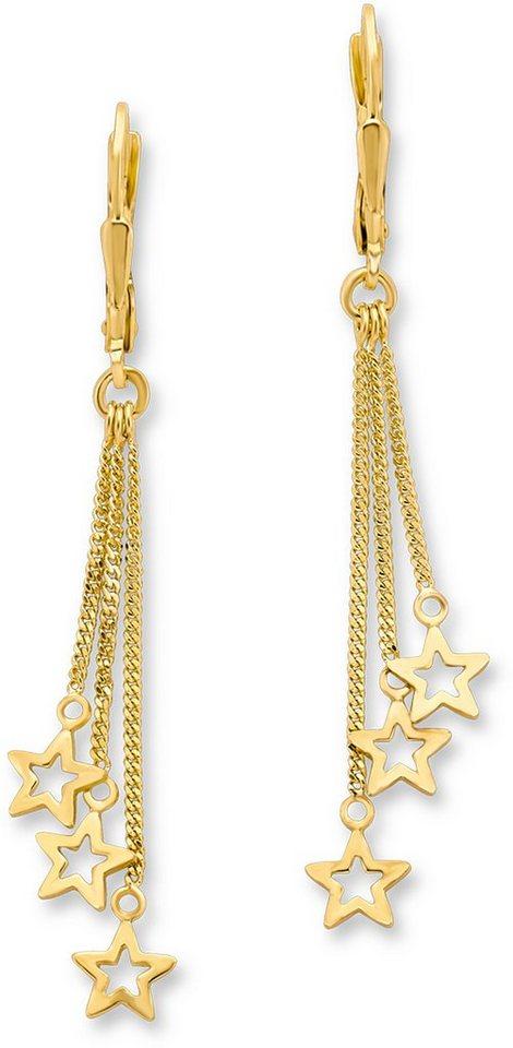 Amor Paar Ohrhänger, »Sterne, E105/7 539104« in Silber 925- goldfarben vergoldet