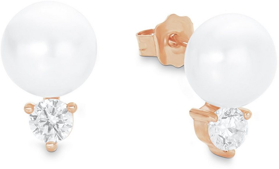 Amor Paar Ohrstecker mit Zirkonia und Süßwasserzuchtperlen, »E103/8 525015« in Silber 925-18 Karat roségoldfarben vergoldet-weiß