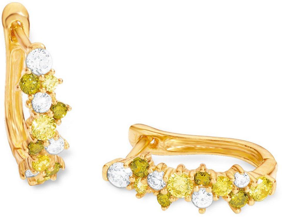 Amor Paar Creolen mit Zirkonia, »E105/8 539036« in Silber 925-goldfarben vergoldet-grün