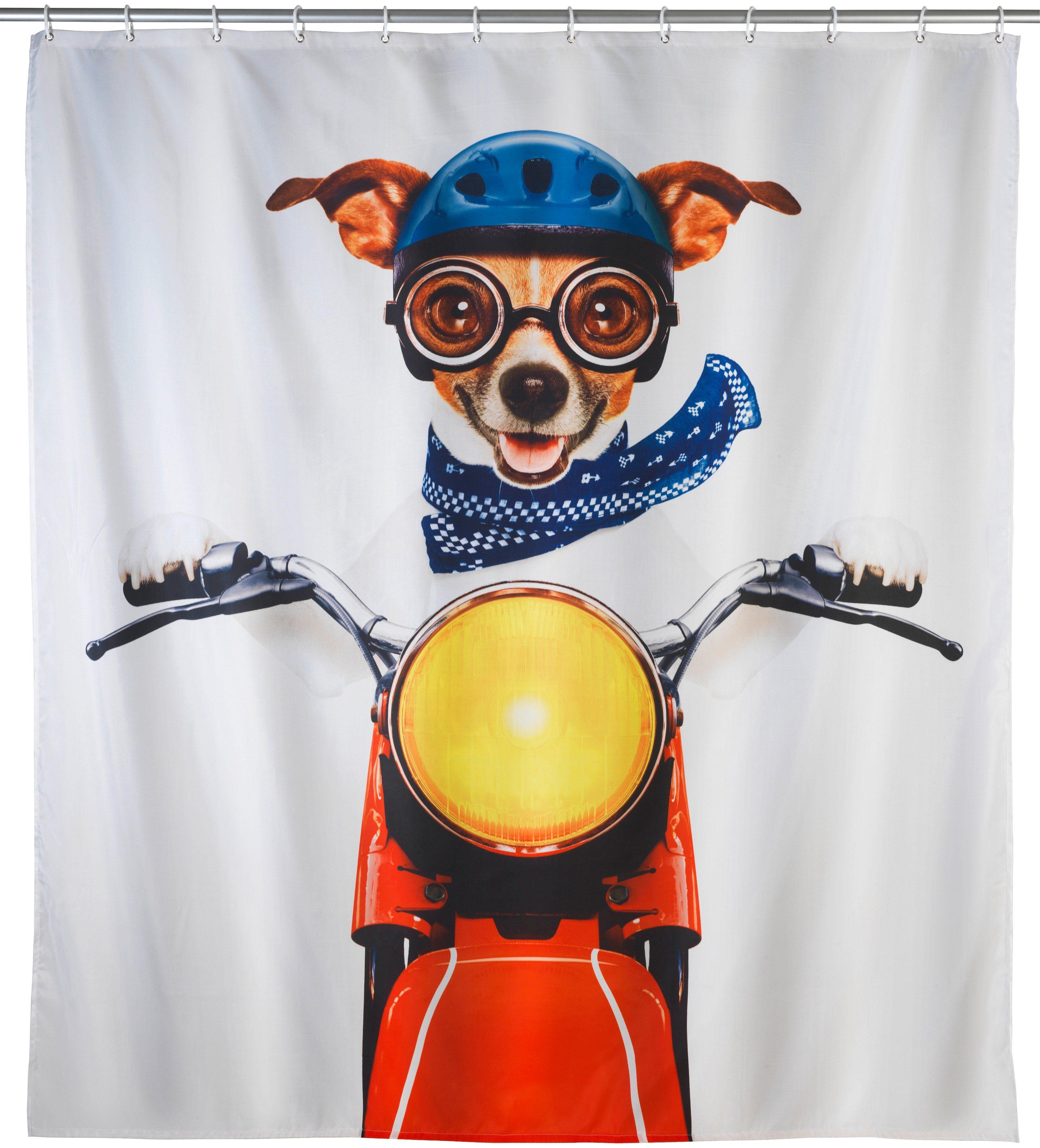 WENKO Duschvorhang »Biker Dog«, Breite 180 cm