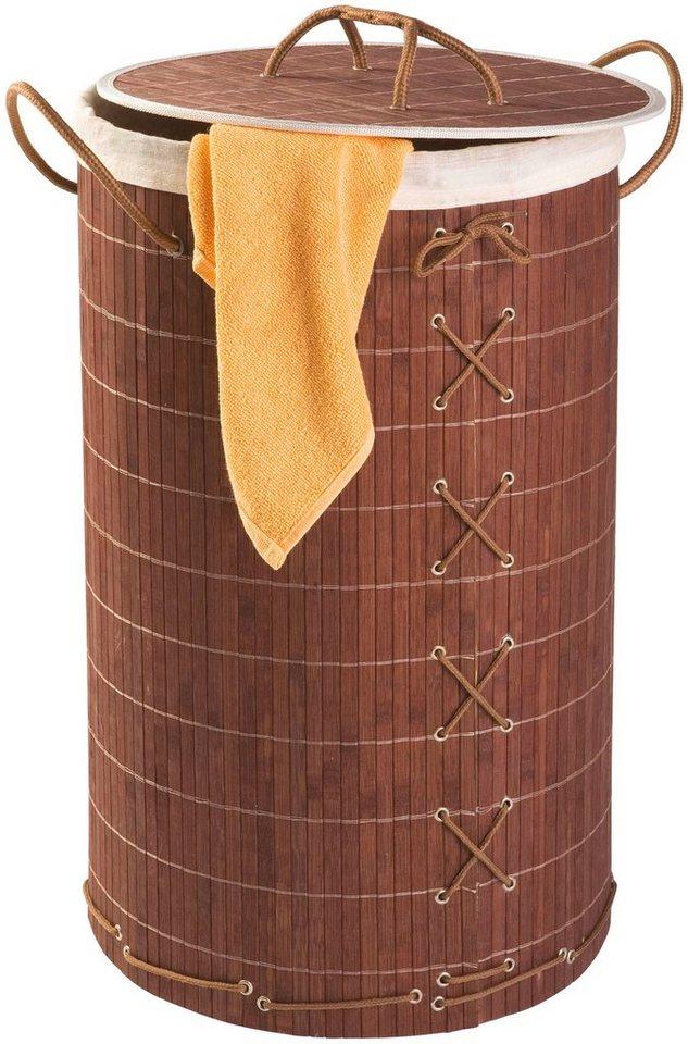 Wäschesammler »Bamboo 55l« in braun / holzoptik/cremefarben