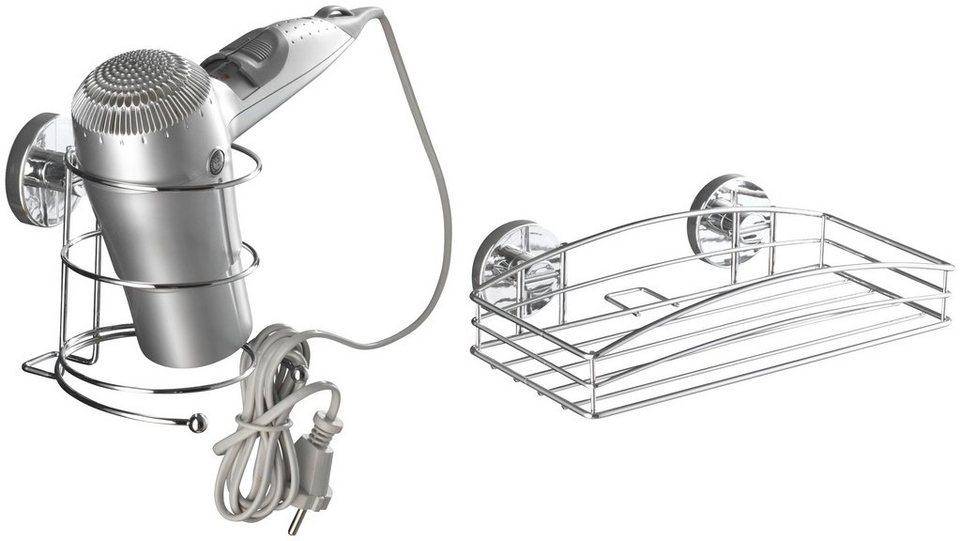Haartrockner-Halter »Vacuum-Loc Haartrocknerhalter und Wandablage« in chromfarben