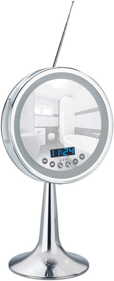 Spiegel / Kosmetikspiegel / Standspiegel »3-fach Vergrößerung« Breite 21 cm, mit Beleuchtung in chromfarben