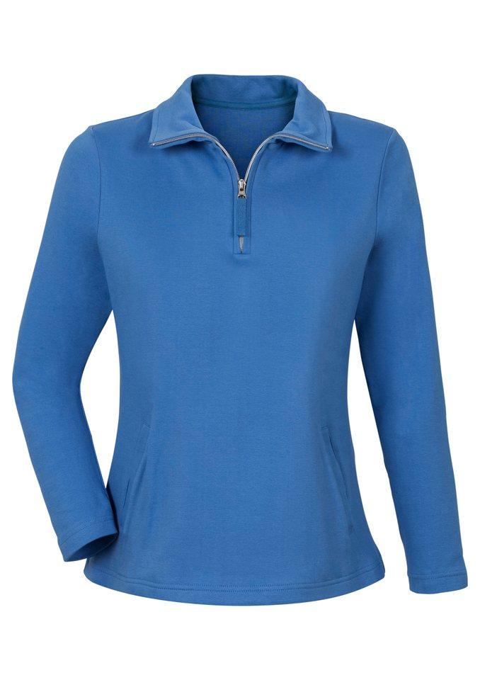 Classic Basics Sweatshirt in formstabiler Interlock-Qualität in blau