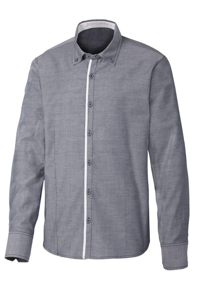 Marco Donati Langarm-Hemd mit Button-down-Kragen, Marco Donati in dunkelblau