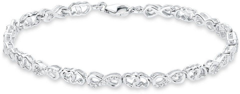 Amor Armband mit Zirkonia, »Herzen und Unendlichkeit, H45/7, 525657« in Silber 925