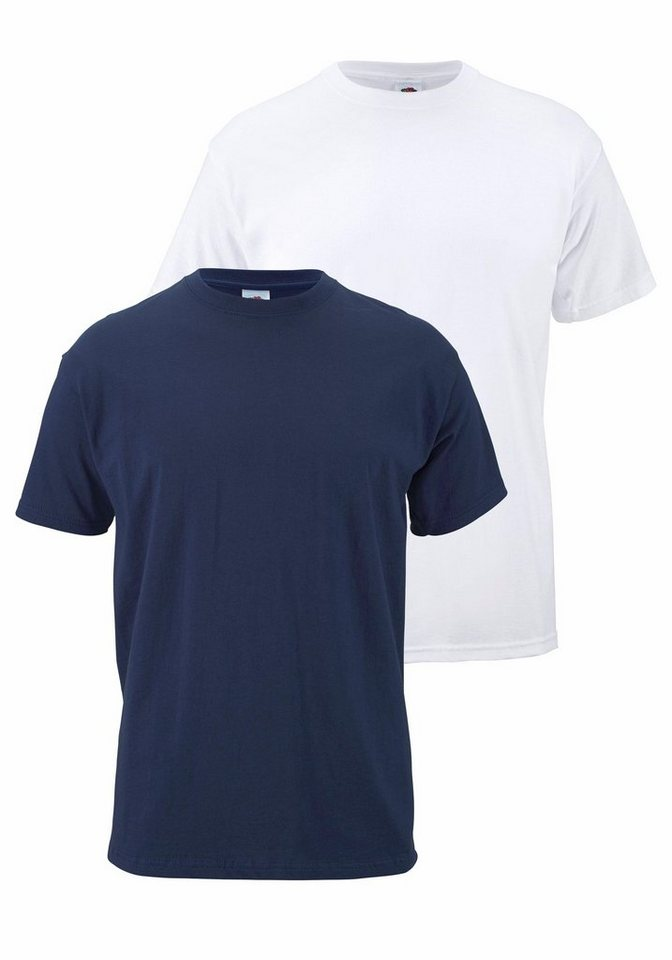 Fruit of the Loom T-Shirt (Packung, 2 tlg.) in marine+weiß