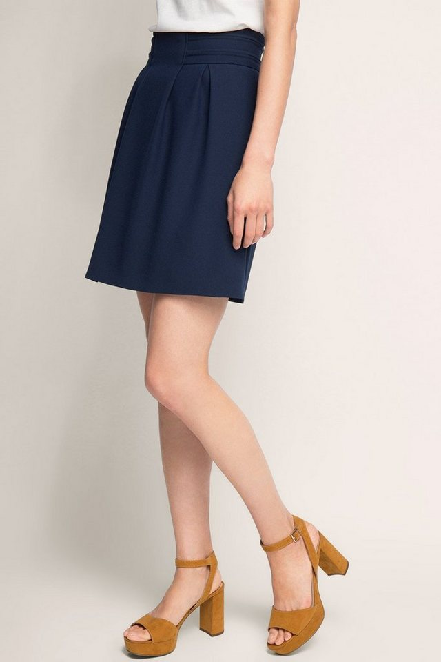 ESPRIT COLLECTION Faltenrock aus Double Face Crepe in NAVY