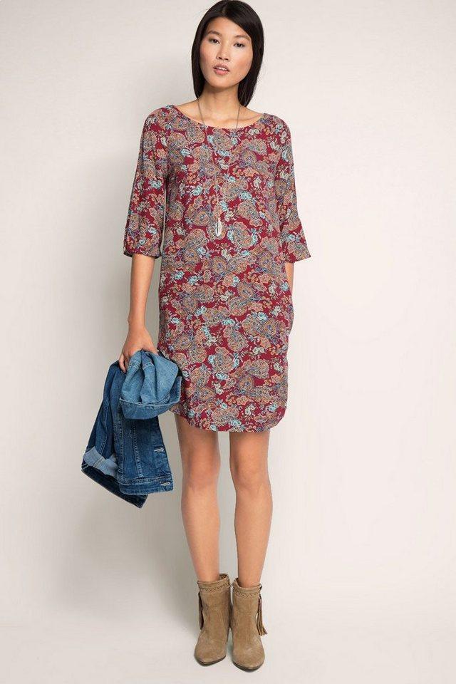 EDC Print Kleid mit Rücken-Ausschnitt in GARNET RED
