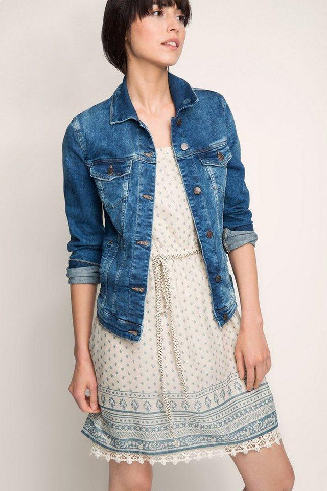 ESPRIT CASUAL Taillierte Jacke aus Stretch-Denim in BLUE MEDIUM WASHED