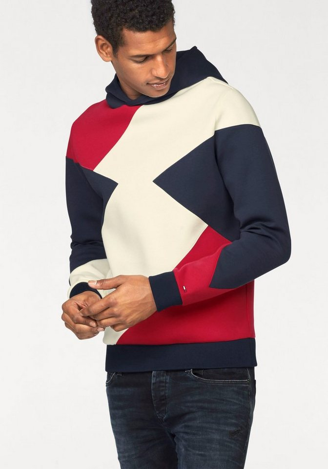 Hilfiger Denim Kapuzensweatshirt in dunkelblau-rot-weiß