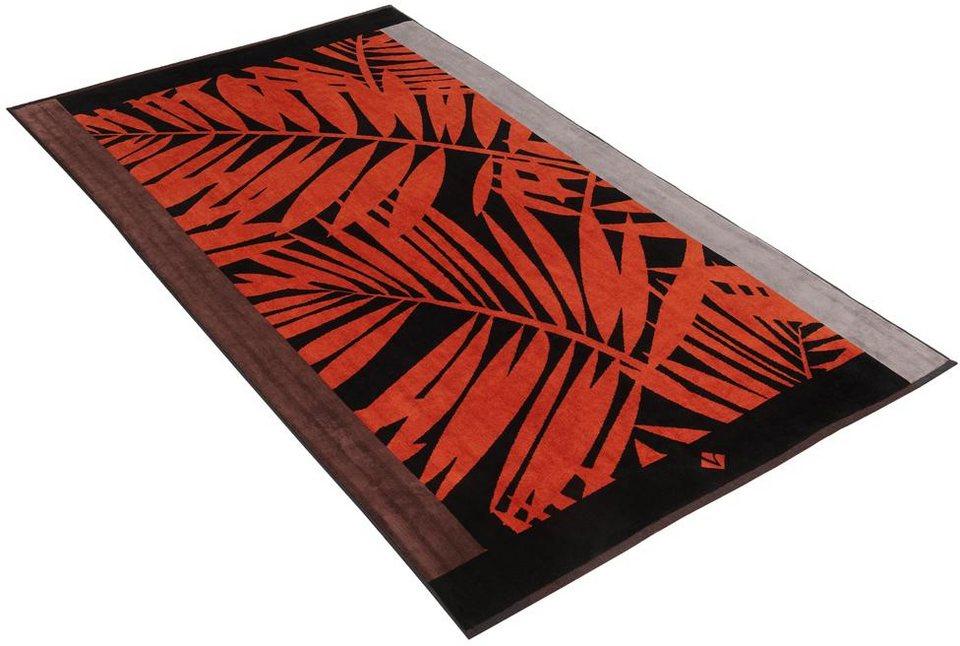 Strandtuch, Vossen, »Jungle«, mit großen Blättern in rot-schwarz