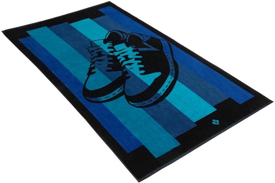 Strandtuch, Vossen, »Sneakers«, mit coolen Schuhen in blau-schwarz