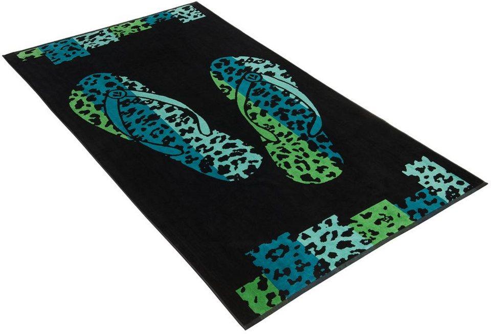 Strandtuch, Vossen, »Brush Flip Flop«, mit Flip-Flop Motiv in grün-schwarz
