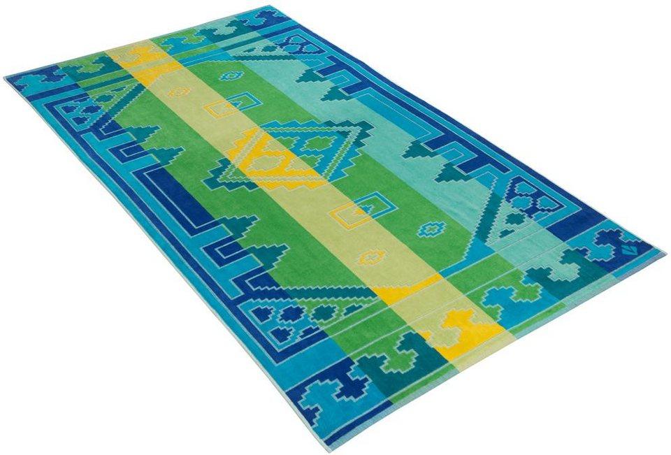 Strandtuch, Vossen, »Oriental«, mit Streifen & Mustern in blau
