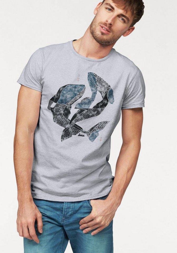 Scotch & Soda T-Shirt mit Frontprint in hellgrau-meliert