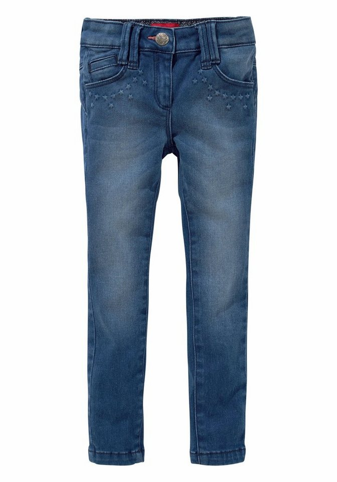 s.Oliver RED LABEL Junior Stretch-Jeans mit Sternenprägung an den Taschen in blue-washed