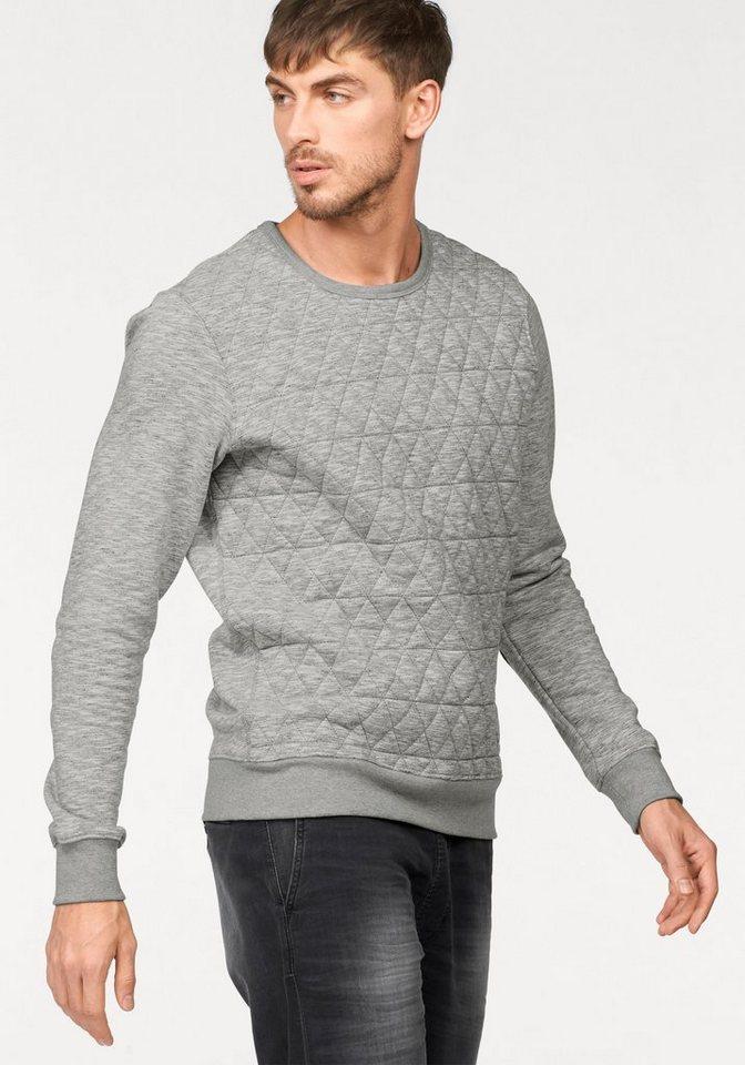 Wrangler Sweatshirt mit gesteppten Vorderteil in mittelgrau-meliert