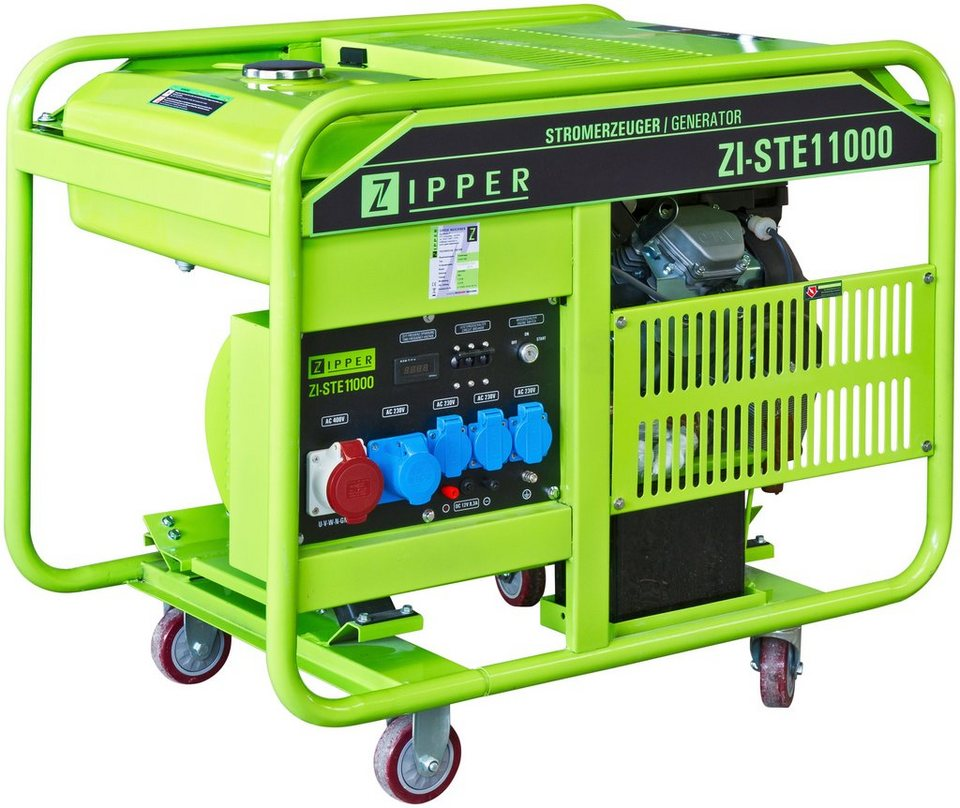 Stromerzeuger »ZI-STE11000« mit 5 Steckdosen (4 x 230 V / 1 x 400 V) in grün