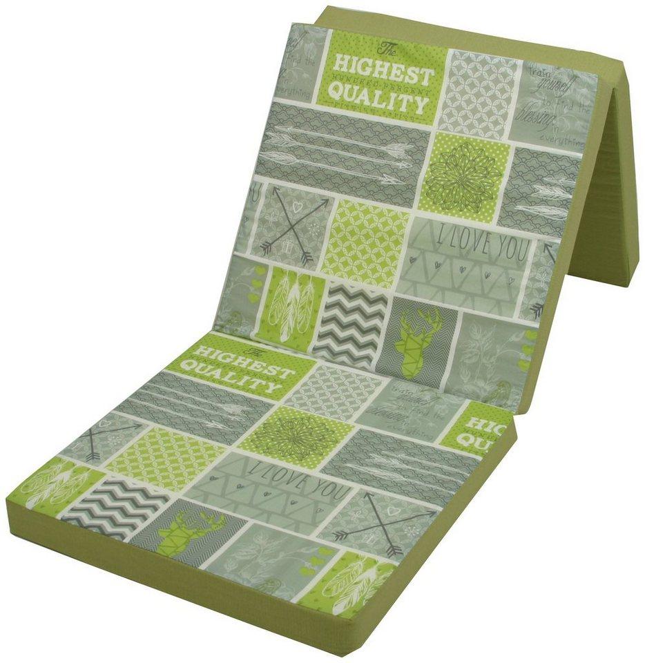 Faltbare Liegenauflage in grün/grau