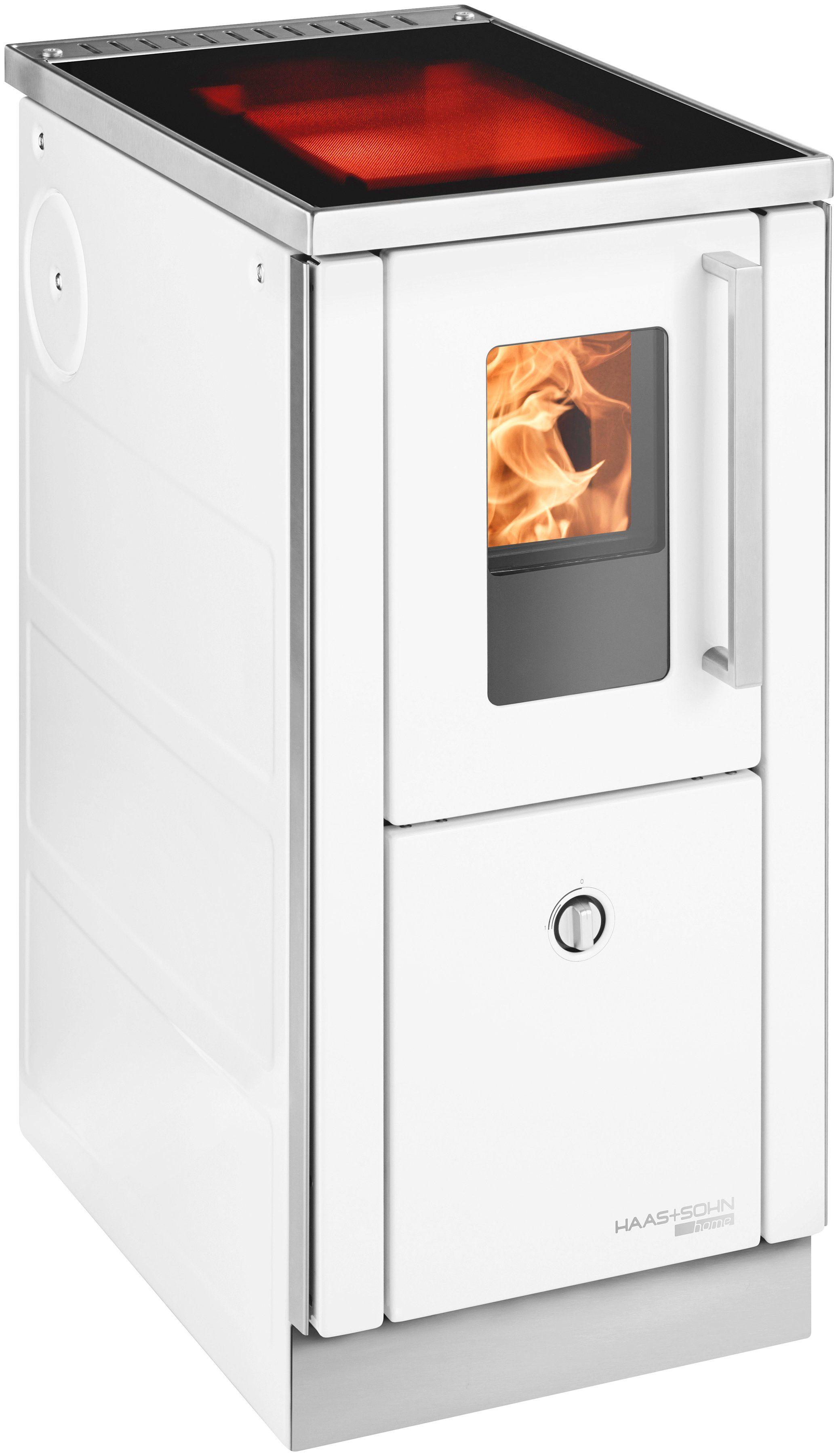 HAAS+SOHN Festbrennstoffherd »HSD 40.5«, Stahl weiß, 6 kW, ext. Luftzufuhr, Dauerbrand, Ceranfeld