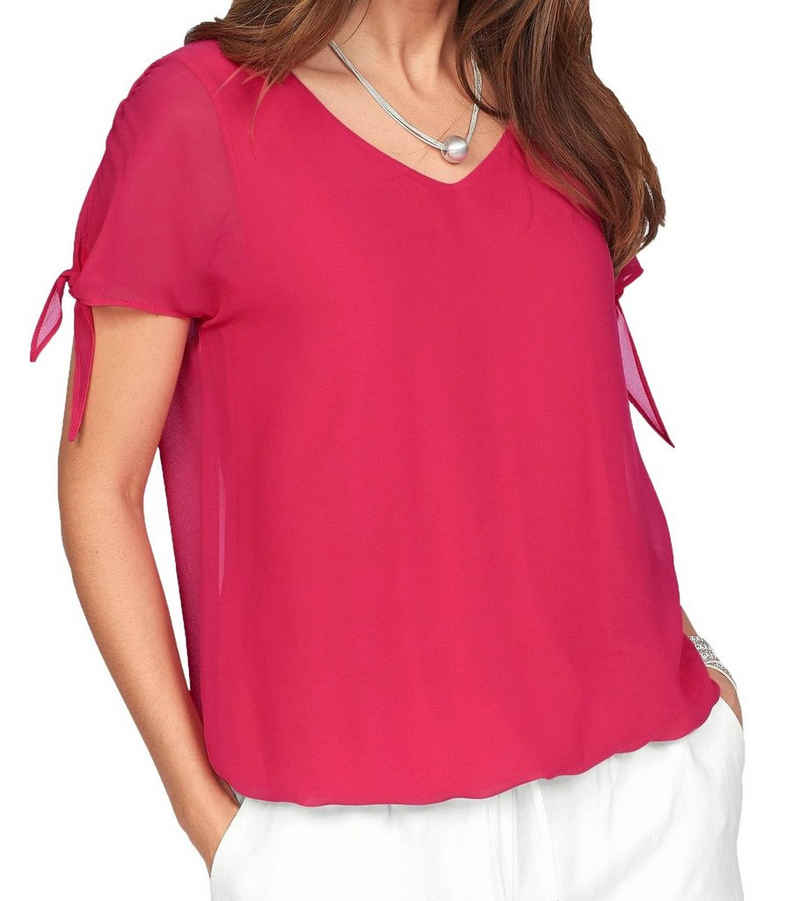 soyaconcept T-Shirt »soyaconcept V-Neck-Shirt schickes Damen T-Shirt mit Schleifenbändchen Freizeit-Shirt Pink«