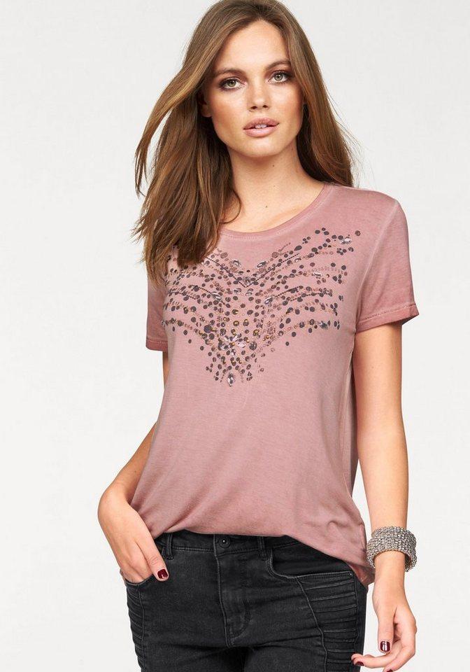 Only T-Shirt »JANE« mit Schmuckdetails in rosa