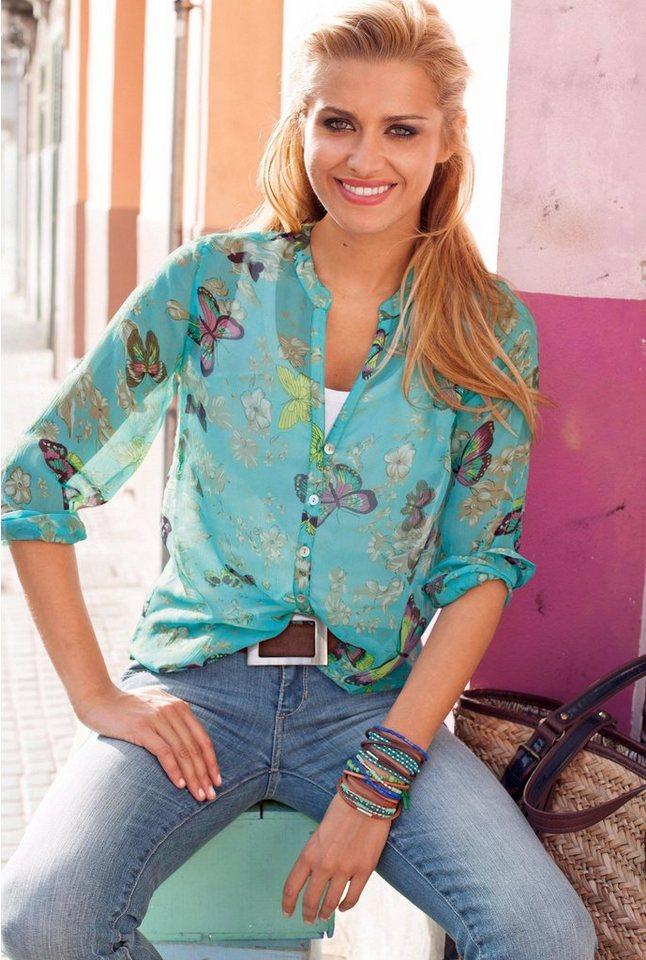 Tamaris Chiffonbluse in türkis-bedruckt