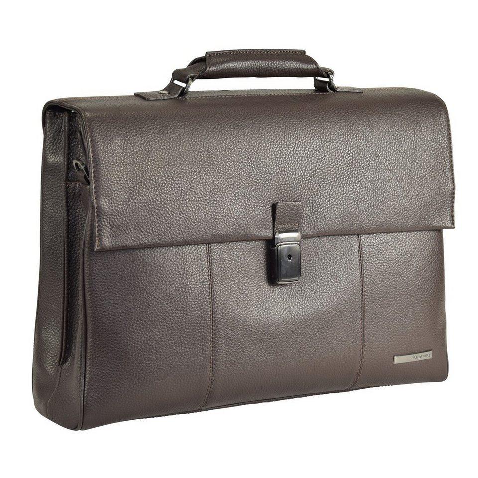 Samsonite Equinox Aktentasche Leder 43 cm Laptopfach in dark brown